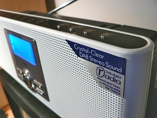 A typical DAB digital radio receiver with the Digital Radio Development Bureau DAB digital radio marketing logo