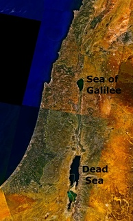 Satellite photograph showing the location of the Dead Sea east of the Mediterranean Sea