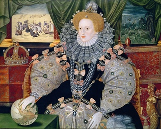 "Portrait commemorating the defeat of the Spanish Armada, depicted in the background. Elizabeth's hand rests on the globe, symbolising her international power. One of three known versions of the ""Armada Portrait""."