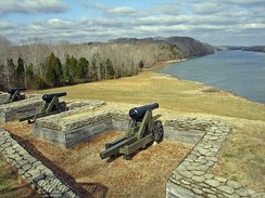 Part of the lower river battery at Fort Donelson, overlooking the Cumberland River