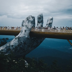 The Golden Bridge in Đà Nẵng of central Vietnam, tourism have recently become one of the key component for the country economy.[262]