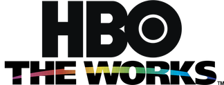 "Multiplex package logo under the ""HBO The Works"" brand, used from April 1998 to December 2004. The arc—shown within ""THE WORKS"" lettering with rainbow coloring—was used as a name separator in the thematic channels' logos (save for HBO2, following its September 2002 name change from ""HBO Plus"") until April 2014."