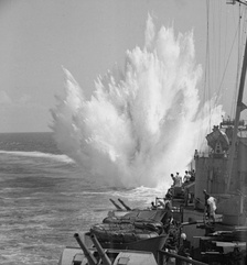 Depth charge exploding after being released by HMS Ceylon