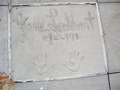 The handprints of June Lockhart are in front of Hollywood Hills Amphitheater at Walt Disney World's Disney's Hollywood Studios theme park.