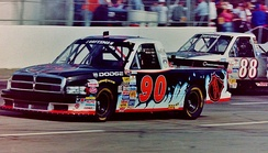 The trucks of Lance Norick (No. 90) and Terry Cook (No. 88) racing in 1998