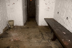 A police cell, with white walls, stone floor and a bench
