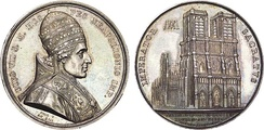Commemorative coin with the image of Pius VII on the obverse and Notre Dame de Paris on the reverse. Note that the date on the reverse is given both according to the Gregorian and French Revolutionary calendars.
