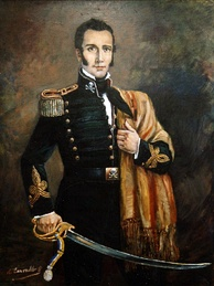 Chilean founding father Manuel Rodríguez, wearing the Húsares de la Muerte uniform