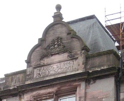 Pediment above entrance showing name of Mearns Street Public School, built for Greenock Burgh School Board.