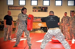 Soldiers in the Missouri National Guard participating in self-defense training
