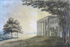 Mount Vernon (1796) with the Washington family on the terrace (Benjamin Henry Latrobe)