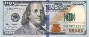 Franklin on the Series 2009 hundred dollar bill