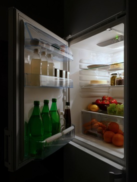 Food in a refrigerator with its door open