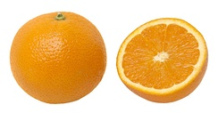 An orange, whole and split