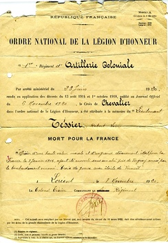 "Notice of posthumous award of the Croix de Chevalier to lieutenant Tessier—Mort pour la France (""Died for France"") in World War I"