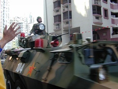 The People's Liberation Army enters Macau after the transfer of sovereignty on 20 December 1999