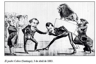 "Caricature in the Chilean magazine Padre Cobos. Minister Balmaceda washes his hands of responsibility and ordered Intendent of Santiago Mackenna to get rid of the heavy Peruvian lion. The Santiago elite observes with pleasure the arrival of the statue. ""Padre Cobos"" and a black child have a nice time playing around."