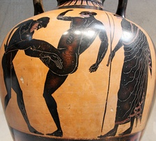 Pankratiasts fighting under the eyes of a judge. Side B of a Panathenaic prize amphora, c. 500 BC.