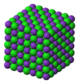 The crystal lattice structure of potassium chloride (KCl), a salt which is formed due to the attraction of K+ cations and Cl− anions. Note how the overall charge of the ionic compound is zero.