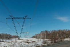 The Ekibastuz–Kokshetau high-voltage line in Kazakhstan. It was the first commercially used power line which operated at 1150 kV, the highest transmission line voltage in the world.