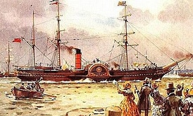Britannia of 1840 (1150 GRT), the first Cunard liner built for the transatlantic service