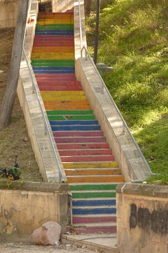 Street art in Kyrenia: steps painted in rainbow colours