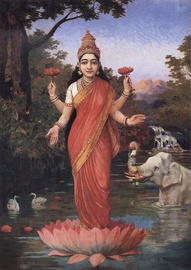 In Hinduism, red is associated with Lakshmi, the goddess of wealth and embodiment of beauty.
