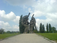 A monument commemorating the victims of the camp