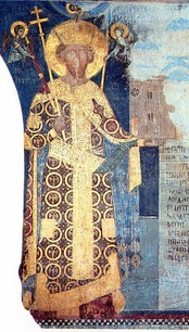 Despot Stefan Lazarević (founder's portrait (Fresco) on the left-hand wall in monastery church to the Holy Trinity (1413—1418).
