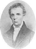 An oval portrait of a friendly looking man with a high forehead looking towards the viewer. His head and shoulders are visible, and his shoulders are turned slightly to the left. His hair is loosely combed, and he is wearing an old-fashioned coat and waistcoat. His shirt is white, with a loose collar and a white stock or cravat.