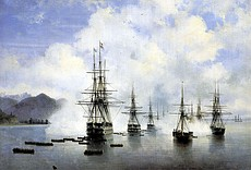 The landing of Nikolay Raevsky's squadron at Subashi, 1839 by Ivan Aivazovsky