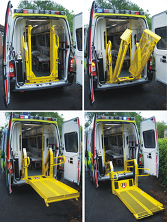 Four stages of deployment on an inboard ambulance tail lift