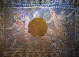 A mosaic of the Kasta Tomb in Amphipolis depicting the abduction of Persephone by Pluto, 4th century BC