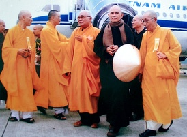 Nhat Hanh at Hue City airport on his 2007 trip to Vietnam (aged 80)