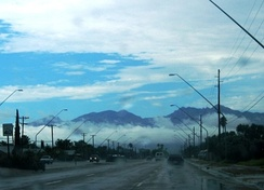 Monsoon clouds blanket the Catalina Mountains in August 2005.