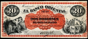 20 peso Uruguay banknote from 1867