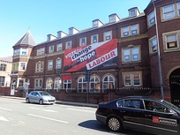 Unite the Union showing their support for the Labour party on their Leeds offices during the 2015 general election