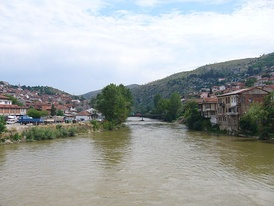 The brown-coloured Vardar flowing through Veles