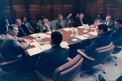 Ronald Reagan's National Security Council. Participants include George Shultz, William F. Martin, Cap Weinberger, Colin Powell and Howard Baker.