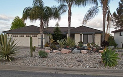 An example of a property using the xeriscaping. This method reduces the need for water which is often in limited supply in arid regions.[3]