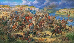 Lithuanians crushing the Golden Horde during the Battle of Blue Waters