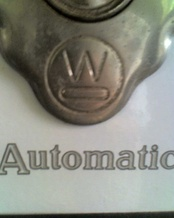 Close up of Westinghouse logo on historic kitchen stove at John & Mable Ringling Museum, Sarasota