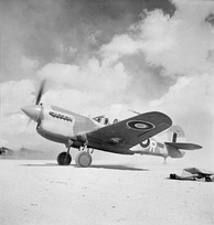 Kittyhawk Mark III, of No. 250 Squadron RAF taxiing at LG 91, Egypt, during Operation Lightfoot