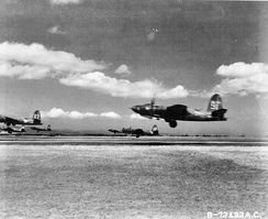 B-26 Marauders from the 440th Bomb Squadron, 319th Bomb Group, 12th Air Force taking off from Decimomannu Airfield, Sardina. The group was trying these 6-plane take offs to save time forming up for missions.