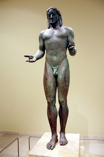 Piraeus Apollo, archaic-style bronze, Archaeological Museum of Piraeus