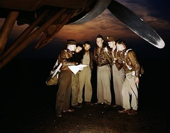 YB-17 Flying Fortress bomber crew receiving instructions at Langley, May 1942