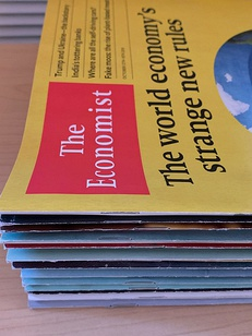 A stack of Economist papers, ordered by publication date, 2020.