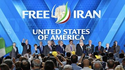Giuliani, Newt Gingrich, James T. Conway, Bill Richardson and other American politicians at the People's Mujahedin of Iran (PMOI) event in 2018[clarification needed]