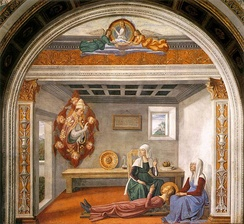 Pope Gregory announces the death of Santa Fina, in the Collegiate Church of San Gimignano (about 1477)