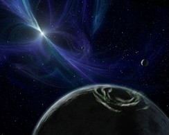Artist's impression of the pulsar PSR 1257+12's planetary system